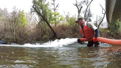 (Laura Mahoney/U.S. Fish and Wildlife Service via AP). In this March 2, 2018 photo provided by the U.S. Fish and Wildlife Service, Brad Carter begins releasing approximately 29,000 endangered winter-run juvenile Chinook salmon into the North Fork of Ba...