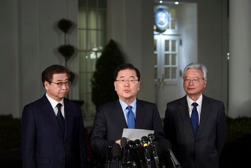 (AP Photo/Susan Walsh). South Korean national security director Chung Eui-yong, center, speaks to reporters at the White House in Washington, Thursday, March 8, 2018, as intelligence chief Suh Hoon, left and Cho Yoon-je, the South Korea ambassador to U...
