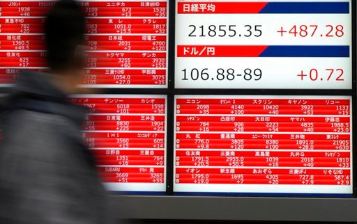 (AP Photo/Eugene Hoshiko). A man walks past an electronic stock board showing Japan's Nikkei 225 index at a securities firm in Tokyo Friday, March 9, 2018. Asian shares were mostly higher Friday on relief that President Donald Trump's tariffs on U.S. s...