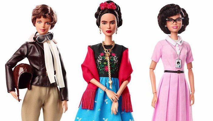 Amelia Earhart, Frida Kahlo and Katherine Johnson are featured in Barbie form. A descendant of Kahlo's said Barbie got the artist's look wrong. (Source: Mattel/CNN)