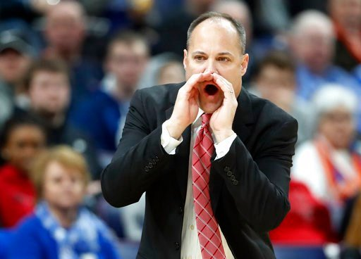 (AP Photo/Jeff Roberson). Georgia head coach Mark Fox yells from the sidelines during the first half in an NCAA college basketball game against Vanderbilt at the Southeastern Conference tournament Wednesday, March 7, 2018, in St. Louis.