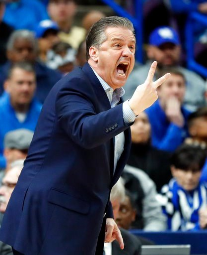 (AP Photo/Jeff Roberson). Kentucky head coach John Calipari yells to his players during the first half of an NCAA college basketball championship game against Tennessee at the Southeastern Conference tournament Sunday, March 11, 2018, in St. Louis.