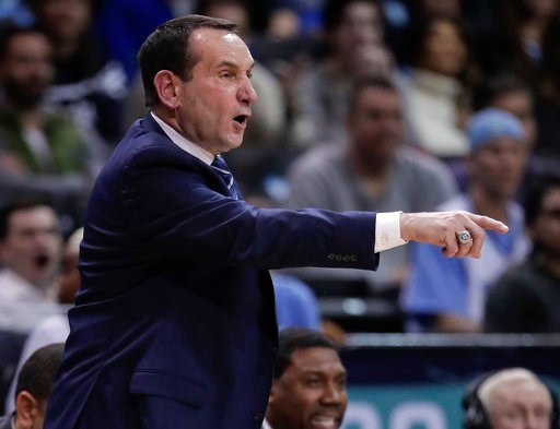 (AP Photo/Julie Jacobson). Duke coach Mike Krzyzewski gestures during the second half of the team's NCAA college basketball game against North Carolina in the Atlantic Coast Conference men's tournament semifinals Friday, March 9, 2018, in New York. Nor...