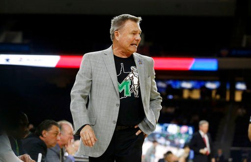 (AP Photo/Michael Ainsworth). Marshall head coach Dan D'Antoni directs his team during the second half of the Conference USA Men's Basketball Championship Game against Western Kentucky in Frisco, Texas, Saturday, March 10, 2018. Marshall defeated Weste...