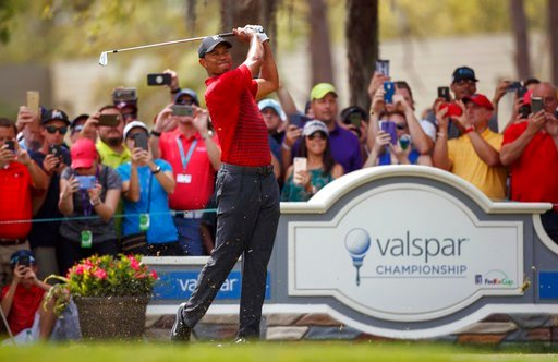 (AP Photo/Mike Carlson). Tiger Woods plays his shot from the second tee during the final round of the Valspar Championship golf tournament Sunday, March 11, 2018, in Palm Harbor, Fla.