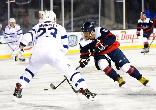 (AP Photo/Nick Wass). Washington Capitals left wing Alex Ovechkin (8), of Russia, skates with the puck against Toronto Maple Leafs defenseman Travis Dermott (23) during the third period of an NHL hockey game, Saturday, March 3, 2018, in Annapolis, Md. ...