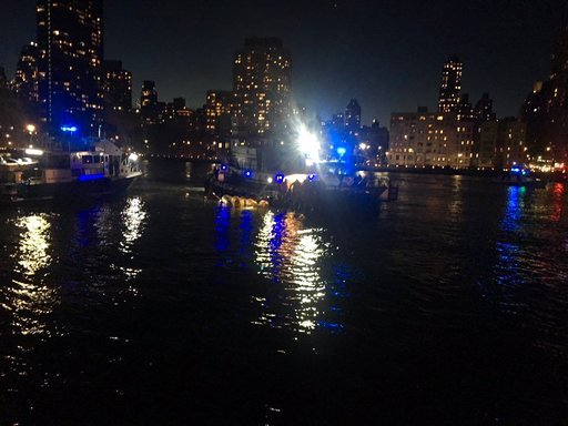 (New York City Police Department via AP). This image made from video provided by the New York City Police Department shows the scene of a helicopter crash in the East River in New York on Sunday, March 11, 2018.