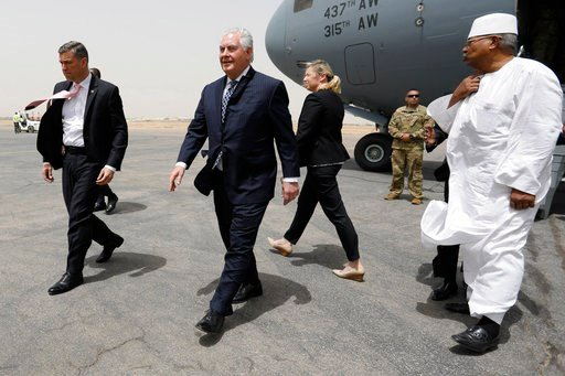 (Jonathan Ernst/Pool via AP). U.S. Secretary of State Rex Tillerson arrives at N'Djamena International Airport in N'Djamena, Chad, Friday, March 12, 2018.
