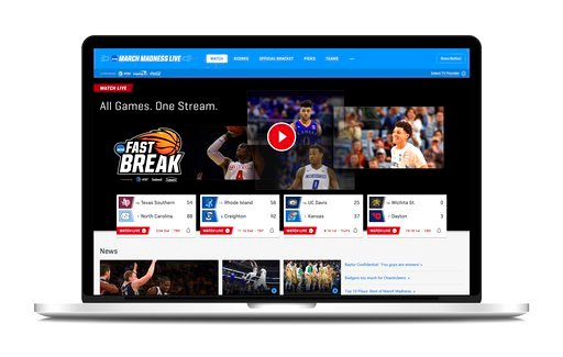 (Turner Broadcasting System, Inc. via AP). This undated product image provided by Turner Broadcasting System, Inc. shows March Madness Live on a laptop. The men's college basketball tournament begins Tuesday, March 13, 2018. All 67 games will be availa...