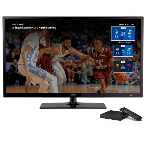 (Turner Broadcasting System, Inc. via AP). This undated product image provided by Turner Broadcasting System, Inc., shows the March Madness Live service on Amazon's Fire TV, with a feature for easily switching between games. The men's college basketbal...