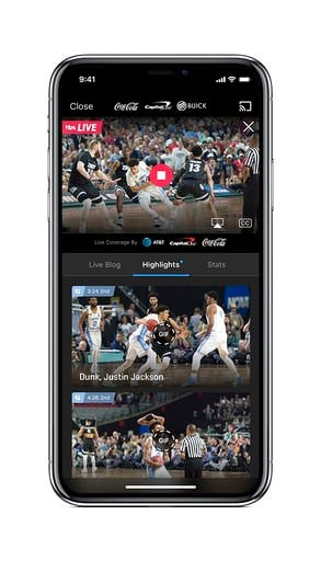 (Turner Broadcasting System, Inc. via AP). This undated product image provided by Turner Broadcasting System, Inc. shows the NCAA March Madness Live app on an iPhone. The men's college basketball tournament begins Tuesday, March 13, 2018. All 67 games ...