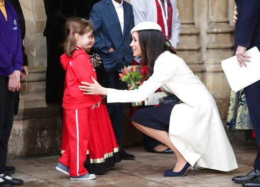 (Yui Mok/PA via AP). Meghan Markle talking to children as she leaves the Commonwealth Service at Westminster Abbey in London, Monday March 12, 2018. Organised by The Royal Commonwealth Society, the Commonwealth Service is the largest annual inter-faith...
