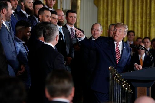 (AP Photo/Evan Vucci). President Donald Trump speaks during a ceremony honoring the World Series Champion Houston Astros, in the East Room of the White House, Monday, March 12, 2018, in Washington.