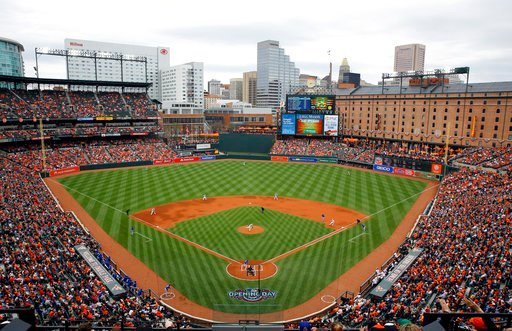 (AP Photo/Patrick Semansky, File). FILE - In this April 3, 2017, file photo, Baltimore Orioles starting pitcher Kevin Gausman throws to the Toronto Blue Jays in the first inning of an opening day baseball game in Baltimore. The Orioles have launched a ...