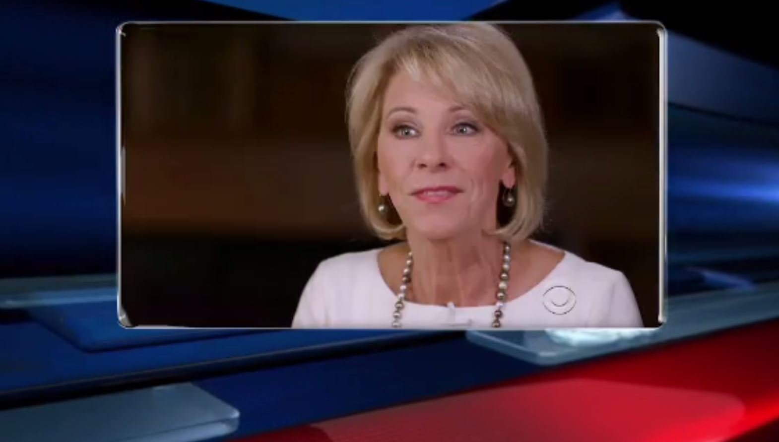 "Education Secretary Betsy DeVos is taking heat over puzzling answers she gave in a new ""60 Minutes"" interview. (Source: CNN/CBS 60 Minutes)"