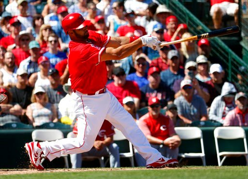 (AP Photo/Matt York). Los Angles Angels; Albert Pujols follow through on an RBI-double against the Cincinnati Reds during the first inning of a spring training baseball game Monday, March 12, 2018, in Tempe, Ariz.