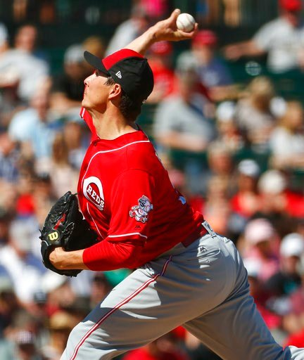 (AP Photo/Matt York). Cincinnati Reds pitcher Homer Bailey throws against the Los Angles Angels during the first inning of a spring training baseball game Monday, March 12, 2018, in Tempe, Ariz.