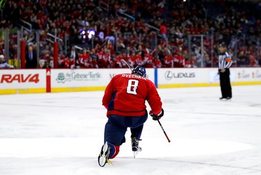 (AP Photo/Alex Brandon). Washington Capitals left wing Alex Ovechkin celebrates his goal in the first period of an NHL hockey game against the Winnipeg Jets, Monday, March 12, 2018, in Washington.