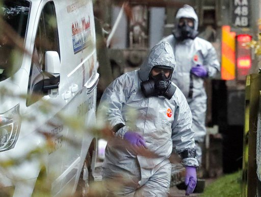 (AP Photo/Frank Augstein). Military forces work on a van in Winterslow, England, Monday, March 12, 2018, as investigations continue into the nerve-agent poisoning of Russian ex-spy Sergei Skripal and his daughter Yulia, in Salisbury, England, on Sunday...