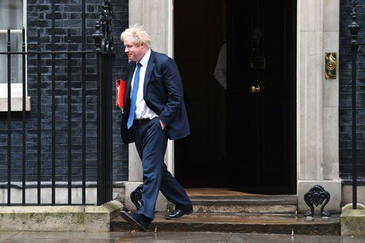 (Stefan Rousseau/PA via AP). Britain's Foreign Secretary Boris Johnson leaves 10 Downing Street after Prime Minister Theresa May summoned people to a meeting of the National Security Council (NSC) to be briefed on the latest intelligence on the nerve a...
