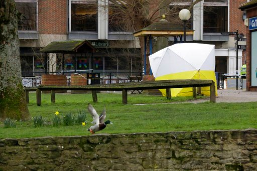 (AP Photo/Matt Dunham). A police tent covers the area where former Russian double agent Sergei Skripal and his daughter were found critically ill following exposure to the Russian-developed nerve agent Novichok in Salisbury, England, Tuesday, March 13,...