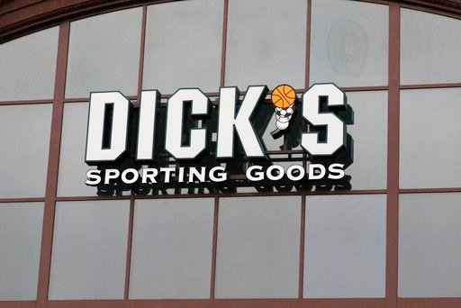 (AP Photo/Rogelio V. Solis, File). FILE- In this March 1, 2018, file photo, a sign for Dick's Sporting Goods store is displayed at the store in Madison, Miss. Dick's Sporting Goods, Inc. reports earnings Tuesday, March 13, 2018.
