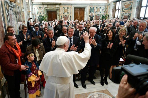 (L'Osservatore Romano/Pool Photo via AP). Pope Francis meets a delegation of politicians from the town of Marseilles, France, at the Vatican, Monday, March 12, 2018.
