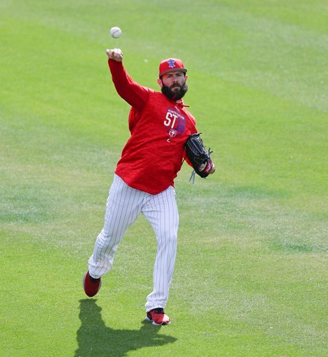 (AP Photo/John Raoux). Philadelphia Phillies pitcher Jake Arrieta throws before a spring baseball exhibition game against the Tampa Bay Rays, Tuesday, March 13, 2018, in Clearwater, Fla.