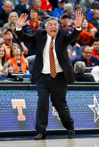 (AP Photo/Jeff Roberson). Auburn head coach Bruce Pearl yells from the sidelines during the first half in an NCAA college basketball quarterfinal game against Alabama at the Southeastern Conference tournament Friday, March 9, 2018, in St. Louis.