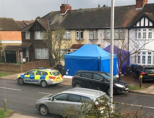 (AP Photo / Eva Ryan). Police activity at a residential address in southwest London, Tuesday March 13, 2018.  According to a police statement Tuesday they are investigating the unexplained death of a man, being named as Russian businessman Nikolai Glus...