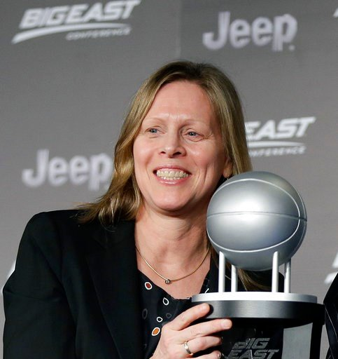 (AP Photo/Julie Jacobson, File). FILE - In this March 9, 2016, file photo, Big East Conference Commissioner Val Ackerman smiles during a press conference in New York. The Big East Conference extended the contact of Commissioner Val Ackerman through Jun...