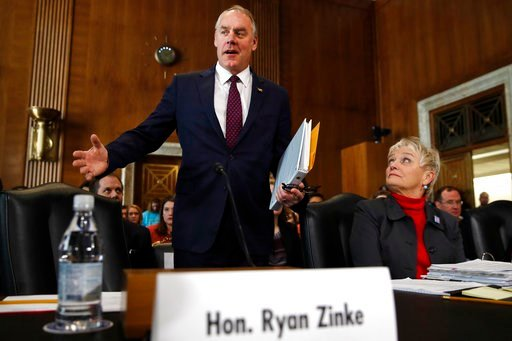 (AP Photo/Jacquelyn Martin). Interior Secretary Ryan Zinke arrives to testify before the Senate Committee on Energy and Natural Resources at a committee hearing on the President's Budget Request for Fiscal Year 2019, Tuesday, March 13, 2018, on Capitol...
