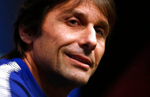 (AP Photo/Manu Fernandez). Chelsea's coach Antonio Conte attends a press conference at the Camp Nou stadium in Barcelona, Spain, Tuesday, March 13, 2018. FC Barcelona will play against Chelsea in a Champions League round of sixteen second leg Wednesday.