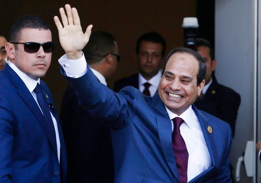 (AP Photo/Hassan Ammar, File). FILE -- In this Aug. 6, 2015file photo, Egyptian President Abdel-Fattah el-Sissi, waves as he arrives to the opening ceremony of the new section of the Suez Canal in Ismailia, Egypt. Egyptian authorities have published a ...