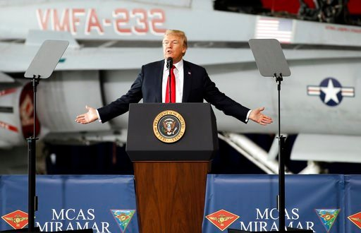 (AP Photo/Alex Gallardo). President Donald Trump speaks at Marine Corps Air Station Miramar in San Diego, Tuesday, March 13, 2018.