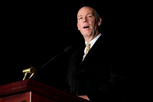 (AP Photo/Andrew Harnik, File). FILE - In this Dec. 6, 2017, file photo, Rep. Greg Gianforte, R-Mont., speaks during the 2017 Capitol Christmas Tree lighting ceremony on the West Lawn of the U.S. Capitol in Washington. A conservationist group is launch...