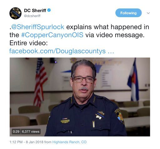 (Douglas County, Colo., Sheriffs via AP). In this frame grab from a Monday, Jan. 8, 2018, video on the Twitter feed of the Douglas County, Colo., Sheriffs Department, Sheriff Tony Spurlock speaks to subscribers.