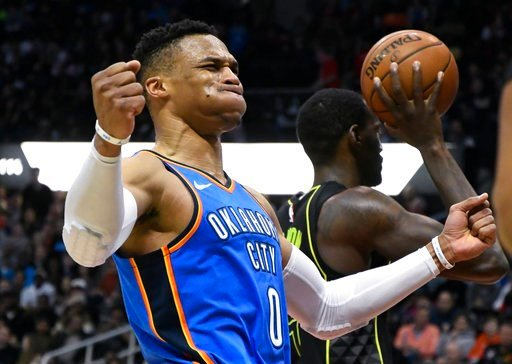 (AP Photo/John Amis). Oklahoma City Thunder guard Russell Westbrook reacts after being fouled during the second half of an NBA basketball game, Tuesday, March 13, 2018, in Atlanta. Oklahoma City won 119-107.