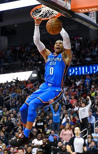 (AP Photo/John Amis). Oklahoma City Thunder guard Russell Westbrook dunks during the second half of an NBA basketball game against the Atlanta Hawks, Tuesday, March 13, 2018, in Atlanta. Oklahoma City won 119-107.