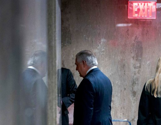 (AP Photo/Andrew Harnik). Secretary of State Rex Tillerson walks down a hallway after speaking at a news conference at the State Department in Washington, Tuesday, March 13, 2018. President Donald Trump fired Tillerson and said he would nominate CIA Di...