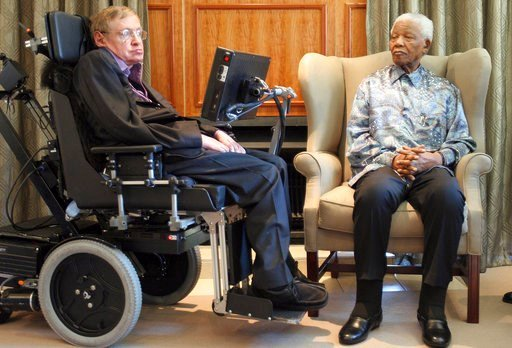 (AP Photo/Denis Farrell, File). FILE - In this Thursday, May 15, 2008 file photo former South African President Nelson Mandela, right, meets with British scientist Professor Stephen Hawking, left, in Johannesburg. Hawking, whose brilliant mind ranged a...