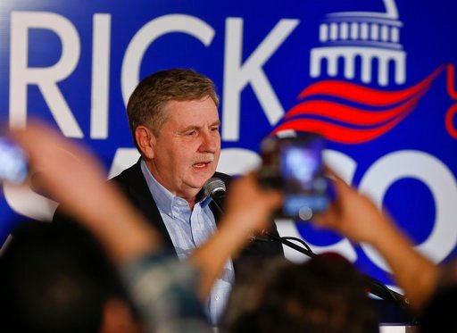 (AP Photo/Keith Srakocic). Republican Rick Saccone thanks supporters at the party watching the returns for a special election being held for the Pennsylvania 18th Congressional District vacated by Republican Tim Murphy, Tuesday, March 13, 2018, in McKe...