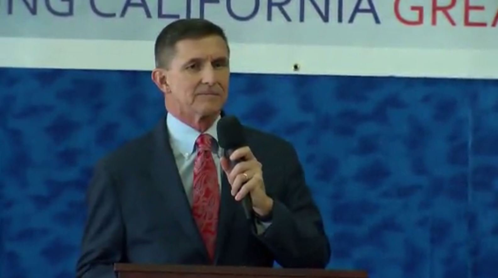 Former National Security Adviser Michael Flynn endorsed GOP Congressional candidate Omar Navarro in his first public appearance since pleading guilty to lying to the FBI. (Source: KESQ/CNN)