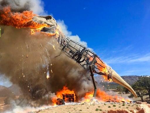 Gone extinct: Animatronic T-Rex bursts into flames - | WBTV Charlotte