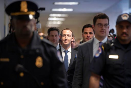 (AP Photo/J. Scott Applewhite). Facebook CEO Mark Zuckerberg arrives on Capitol Hill in Washington, Monday, April 9, 2018, to meet with Sen. Dianne Feinstein, D-Calif., the ranking member of the Senate Judiciary Committee.