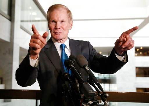 (AP Photo/Alex Brandon). Sen. Bill Nelson, D-Fla., the ranking member of the Senate Commerce Committee, speaks after a meeting with Facebook CEO Mark Zuckerberg on Capitol Hill, Monday, April 9, 2018, in Washington.