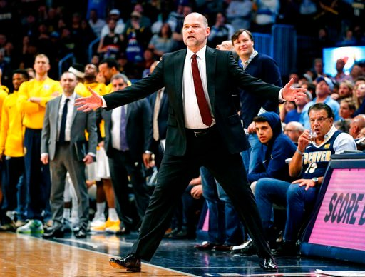 (AP Photo/Jack Dempsey). Denver Nuggets head coach Michael Malone reacts to a call during the fourth quarter of an NBA basketball game against the Portland Trail Blazers, Monday, April 9, 2018, in Denver. Denver beat Portland 88-82.