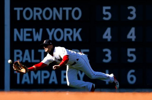 (AP Photo/Winslow Townson). Boston Red Sox's Andrew Benintendi makes a catch on Tampa Bay Rays' Brad Miller during the ninth inning of the Red Sox 10-3 win in a baseball game at Fenway Park in Boston, Saturday, April 7, 2018.
