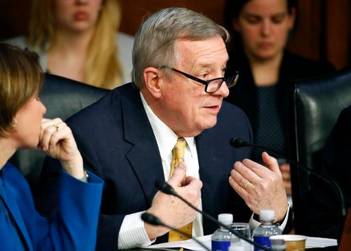 (AP Photo/Alex Brandon). Sen. Dick Durbin, D-Ill., questions Facebook CEO Mark Zuckerberg as he testifies before a joint hearing of the Commerce and Judiciary Committees on Capitol Hill in Washington, Tuesday, April 10, 2018, about the use of Facebook ...