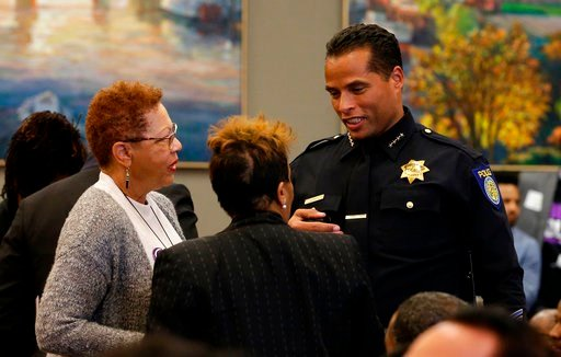 (AP Photo/Rich Pedroncelli, File). In this Tuesday, March 27, 2018, file photo, Sacramento Police Chief Daniel Hahn, right, talks to attendees of a meeting to discuss the fatal police shooting of Stephon Clark, at the Sacramento City Hall.